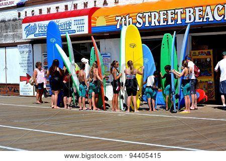 Ocean City, New Jersey USA  Children's Surfing Class