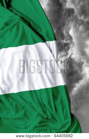 Nigerian waving flag on a bad day