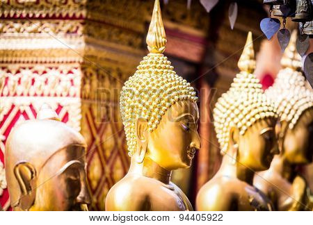 Golden statue of buddha in Wat Phra That Doi Suthep, Chiang Mai, Thailand