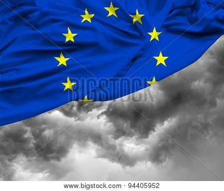 European waving flag on a bad day