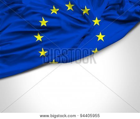 European waving flag on white background