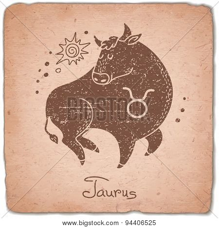 Taurus zodiac sign horoscope vintage card.
