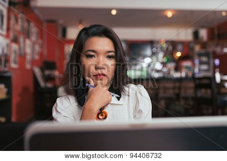 Concentrated business lady
