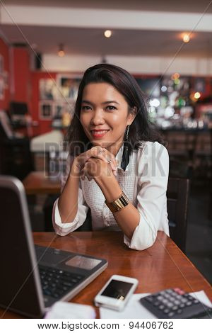 Business lady in cafe