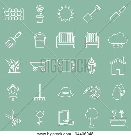 Gardening Line Icons On Green Background