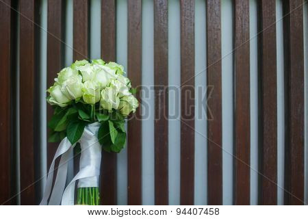 Wedding Bouquet Of White Roses In The Bride Room