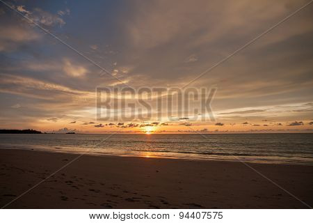 Sun Set Of The Sea At Phuket, Thailand.