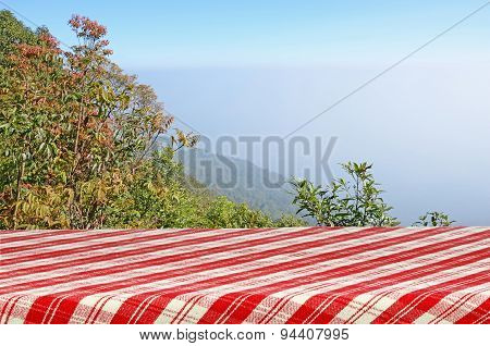 Outdoor Picnic Background with Picnic Table.