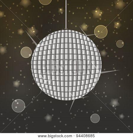 Shiny Disco Ball On Abstract Bokeh Background Eps10