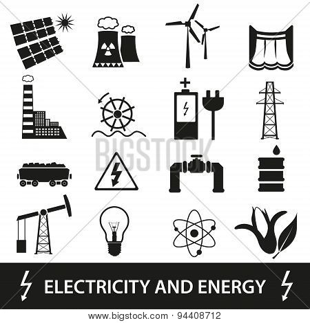 Electricity And Energy Icons And Symbol Eps10