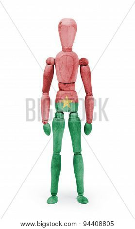 Wood Figure Mannequin With Flag Bodypaint - Burkina Faso