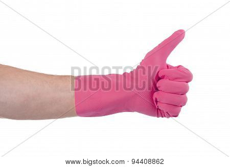 Pink Glove For Cleaning Show Thumbs Up