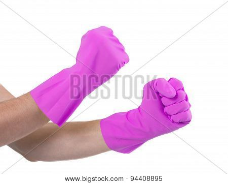 Hands In A Rubber Gloves Gesturing Fist