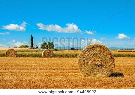 a crop field in Spain with some large round straw bales after harvesting