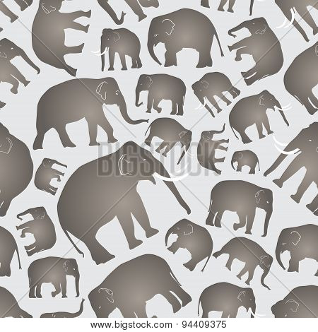 Gray Vector Elephants Simple Seamless Pattern Eps10
