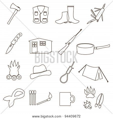 Black Backwoodsman Simple Outline Icon Set Eps10