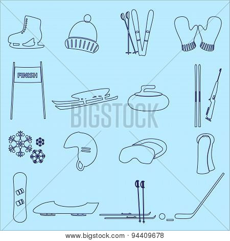 Winter Sports And Equipment Outline Icons Eps10