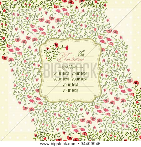 Vector Illustration Of Invitation Cards With Vintage Flowers.