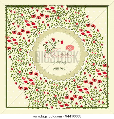Vector Image Of Little Flowers In A Frame, Invitation To The Fea