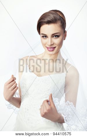 The Girl Bride With A Fashionable Hairstyle.
