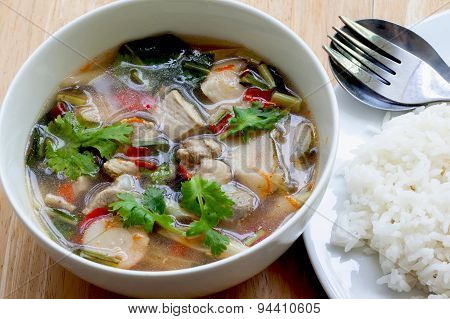Hot  spicy pork rib  with  and Thai herbs