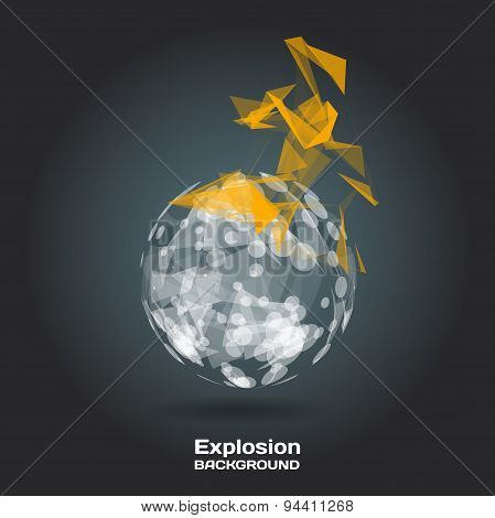Abstract Background With Burning Sphere On Theme Digital Technol