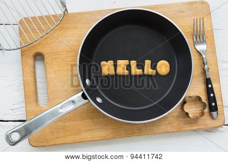 Alphabet Biscuits Word Hello And Kitchenware