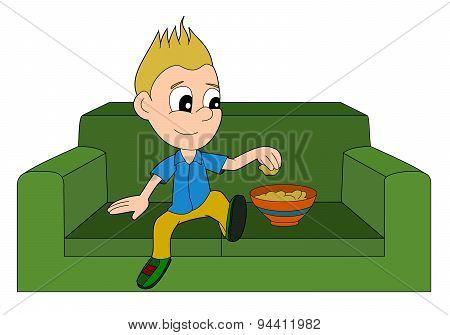 Cartoon Boy Relaxing