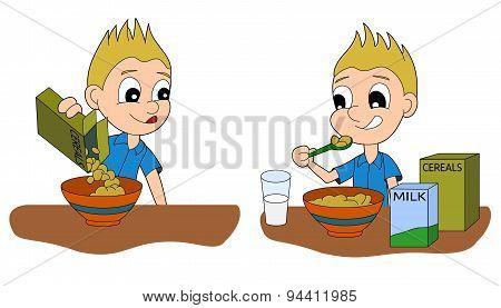 Cartoon boy eating breakfast