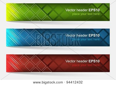 Web Header, Set Of Vector Banner