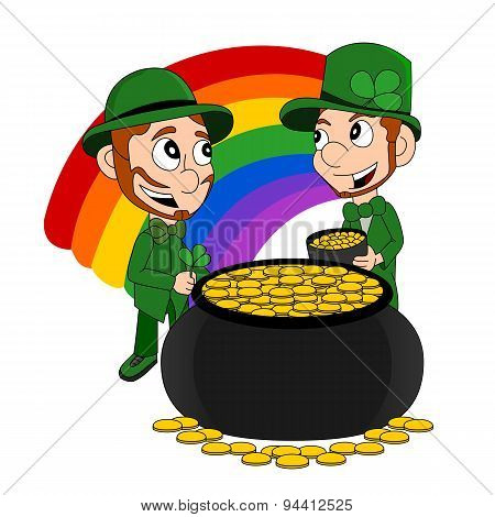 Cartoon Leprechauns With Pot Of Gold