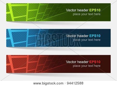 Set Of Colorful Vector Headers And Banners