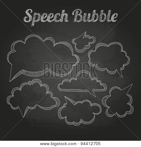 Chalk Drawings. Set Of Speech  Bubble. Cloud