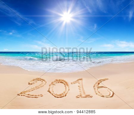 written 2016 on the beach