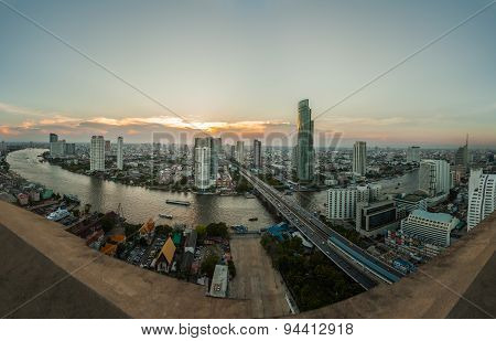 Landscape Of River In Bangkok City