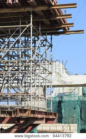 Scaffold and construction at Building Construction Site