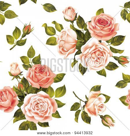 Seamless delicate pattern with roses. Vector illustration.