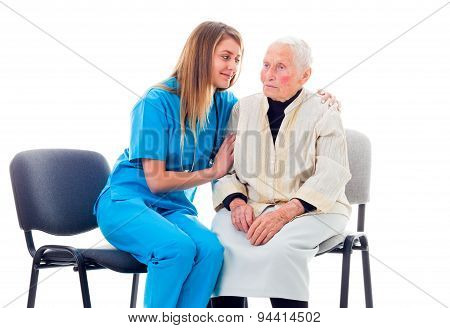 Nurse Consoling Worried Patient
