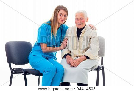 Happy Doctor And Enlerly Patient Getting Better Together