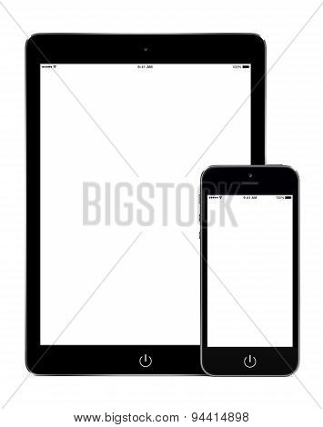 Tablet Computer And Smart Phone In Portrait Orientation Mockup