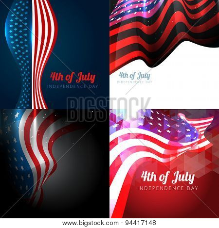 vector set of 4th july american independence day background with wave and american flag