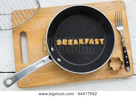 Alphabet Crackers Word Breakfast Putting In Pan