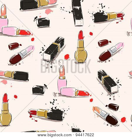 Vector Seamless Pattern. Hand Drawing Illustration With Lipstick