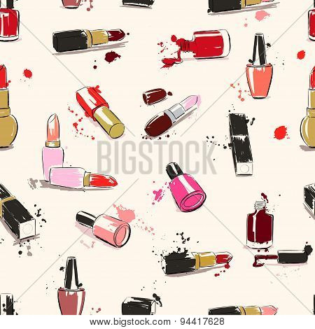 Vector Seamless Pattern With Lipstick & Nail Polish