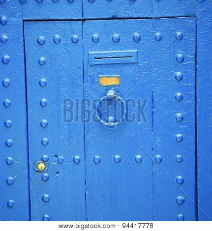 Antique Door In Morocco Africa Blue Wood And Metal Rusty
