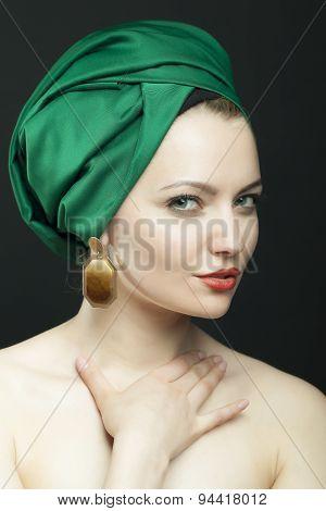 Woman In Green Retro Hat