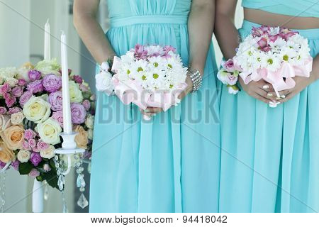 Bridesmaids With Wedding Flowers
