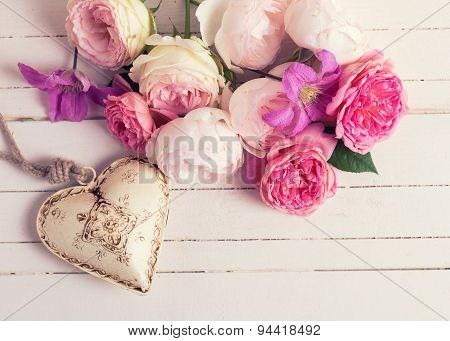 Sweet Pastel Roses, Clematis Flowers And Decorative Heart