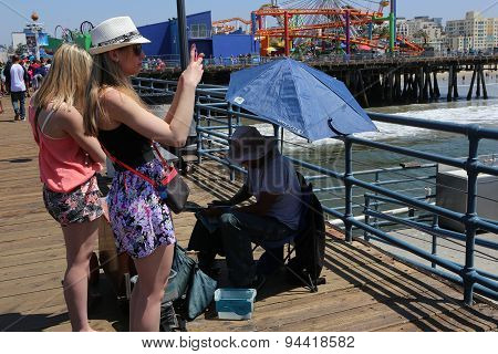 The Pier On Santa Monica Beach, California