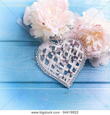 Decorative Heart And Splendid White Peonies